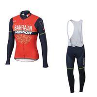 Wholesale Uci Winter Jersey - 2017 winter thermal fleece uci team bahrain merida cycling jersey long sleeve Racing Bicycle ropa ciclismo bike cloth bib pants gel pad