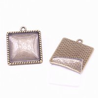 10set Antique Bronze Square 24 * 27mm (Fit 20 * 20mm dia) Подвесные заготовки Fit Jewelry Making Charms + Clear Glass Cabochons A4703-1