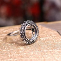 Art Nouveau 11MM Round Cabochon Semi Mount Ring Flower 925 Sterling Silver Retro Fine Jewelry Jewelry Set