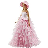 Wholesale Coats For Evening Dresses - Princess Evening Party Clothes Wears Dress Outfit Set for Barbie with Hat Great Christmas Gift Elegant Dress for Barbie Doll