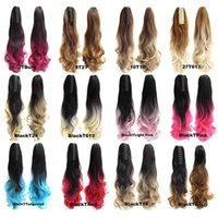 Wholesale Colorful Hair Ombre - Wholesale-22'' 55cm Long Wavy Curly Colorful Ombre Claw Pony tail Synthetic Hair Extensions JACEN HAIR CP888