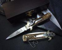 Wholesale Antler Man - AKC Hubertus Solincen 6inch D2 blade HRC61 classic Antler handle single action pocket folding camping knife gift knife for man 1pcs