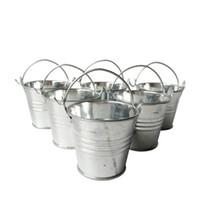 Wholesale Decorative Buckets Wedding - Wholesale D6*H5CM Cheap Metal Favor Pail Tin bucket Zinc Pail Decorative wedding favor holders Silvery candy holders