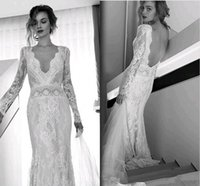Wholesale Simple Column Wedding Dresses - Lihi Hod Bohemian Beach Wedding Dresses Full Lace Long Sleeves Sexy V Neck Sweep Train Bridal Gowns Custom Made Open Back 2017 Hot Sale