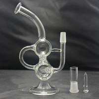 Wholesale Baby Drums - Hitman Glass Baby Double Barrel Recycler Vapor Rig bongs water pipe s bong glass dab oil rigs percolator bubbler pipe mini drum thick