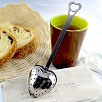 "Wholesale Tea Heart Ball - ""Tea Time"" Heart Tea Infuser Filter Balls Stainless Steel Teas Strainers Oblique Tea Stick Tube Tea Infuser Steeper Wholesale 3002027"