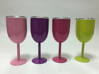 Wholesale Red Cocktail Glasses - 10oz Stainless Steel Goblet New Red Wine Glass 9 Colors Double Wall Insulated cooler Metal Goblet With Lid Tumbler Red Wine Mugs