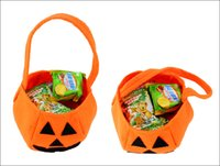 Wholesale Baskets For Toys - Wholesale-Funny pumpkin bag handbag basket for candy Trick Toy for April fool's day halloween party favor decoration Wh