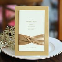 gold rosa hochzeitseinladungen großhandel-Vintage Hochzeit Einladungen 2017 Bronzing Kreative Hochzeitskarten Elegante Hochzeit Liefert Rot Rosa Marineblau Gold Farbe Maßarbeit