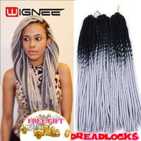 Wholesale 26 Inch Synthetic Braiding Hair - Wholesale- 20 Inch Ombre Black Grey Color Faux Locs Crochet Braids Pre Braided Synthetic Soft Dreadlocks Braiding Hair Extensions Wholesale
