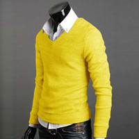 Wholesale Cheap Pullover V Neck Sweaters - Wholesale- Man Sweater Autumn Winter Warm Male Knitwear Long Full Sleeve Pullover V-Neck Fit Knitting Guy Gift Fashion Casual Cheap