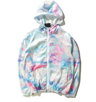 Wholesale Man S Cap - Tide brand world tour ice cream sunscreen jacket and tie dye color gradient thin coat trendsetter Collar type: cap Color: figure color Size: