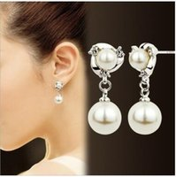 Wholesale Cheapest Sterling Silver - Cheapest S 925 silver needle diamond pearl earrings allergy free stud earrings two colors can choose