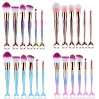 Wholesale Wholesale Colorful Synthetic Hair - Mermaid Makeup Brushes Sets 3D Colorful Professional Make Up Brushes Foundation Blush Cosmetic Brush Set Kit Tool 1lot=1set=6pcs