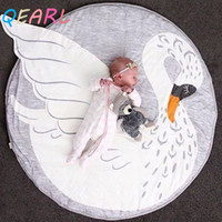 Wholesale QEARL Swan blanket Baby Play Mat new Swan printed baby bedding Blanket Children s Room Decoration infant Crawling mat