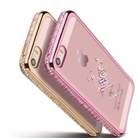Wholesale I Phone Case Rhinestones - 5 5S Rhinestone Silicone Case For iPhone 5S 5 SE 6 S 6s Plus Glitter Diamond Cover For i Phone 5 Fundas Coque Pink Gold Luxury