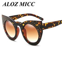 Wholesale Rhinestone Cat Glasses - ALOZ MICC Designer Sunglasses For Women Rhinestone Women Oversized Rivets Clear Transparent Sun glasses Luxury Flat Top UV400 A035