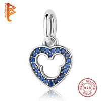 Wholesale Blue Bangle Bracelets - BELAWANG European 925 Sterling Silver Heart Pendant Blue&Pink Crystal Charms Fit Original Pandora Charm Bracelets&Bangles Jewelry DIY Making