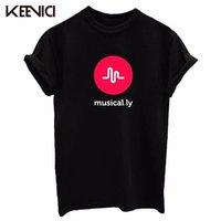 Wholesale Tshirt Logos Wholesale - Wholesale- KEEVICI 2017 Hot Sell Women's Musical.ly Logo T-shirts cotton printing tees female T-shirt Women tops Tshirt