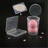 Wholesale Square Powder Puff - Cosmetic powder puff false eyelash accessories transparent plastic storage box Make Up silicon puff cosmetic organizer box
