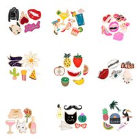 Wholesale Sexy Cowboys Clothing - Colorful Enamel Pins Set Sexy Red Lip Bulldog Black Jacket Cowboy Heart Badge Cartoon Brooches Women Girl Clothing Accessories
