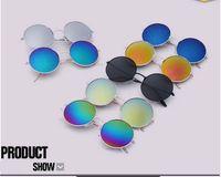 Wholesale Wholesale Colorful Optical Frames - Round Metal Top grade Sunglasses Eyewear Flash Colorful Glass Lens Men Women Travel Optical Sun Glasses