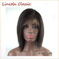 Wholesale African Swiss Laces - Yaki Straight Bob Cut Glueless Lace Front wig Light Yaki Full Lace Wigs Virgin Malaysian Human Hair Bob Wigs For african Women left Part