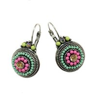 Wholesale Vintage Charm Clip Earrings - Vintage Silver 2 Color Brincos Lady Colorful Beads Charms Luckly Rhinestones Ethnic Clip On Earrings For Women Statement Jewelry
