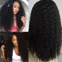 Wholesale Long Curly Heavy Wig - Heavy 180% Density Lace Front Human Hair Wig For Black Women Brazilian Virgin Hair Kinky Curly Full Lace Wigs Glueless Curly Wig