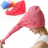 capas de cabelo spa venda por atacado-Duche microfibra Quick Dry cabelo Caps Magia Super absorvente cabelos secos toalha de secagem Turban Enrole Hat Spa de banho Caps YW140