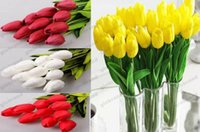 Wholesale White Real Touch Tulips - 2017 NEW Tulip Artificial Flower PU Artificial bouquet Real touch flowers For Home Wedding decoratiom Supplies GLO