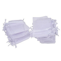 Wholesale 100pcs x9cm x12cm White Organza Jewelry Gift Pouch drawstring Bags For Wedding favors beads jewelry