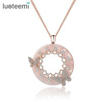 weißer china rose pendant großhandel-LUOTEEMI New Korea Style Elegant Große Runde Rosa Creme CZ Anhänger mit Mirco Double Butterfly Halskette Rose White Gold-Farbe
