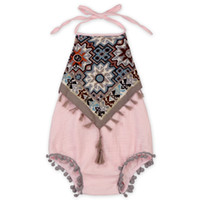 Wholesale Shabby Baby Clothes Vintage Tassle Baby Girls Bodysuit Outfit Halter Back Newborn Girls Sunsuit Baby Playsuit Outfit
