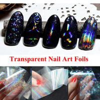 Wholesale Transparent Foil Sticker - 1pcs New Transparent Nail Art Foils Starry Sky Glitter Nail Transfer Sticker Paper Manicure Nail Tools