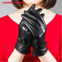 Wholesale Ladies Black Leather Gloves - Warm winter women sheepskin leather gloves for women ladies black thickening cashmere gloves female fleece lined Mittens