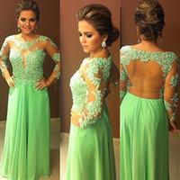 Wholesale Vestidos Sexy Elegante - Light Green Evening Dresses Chiffon Appliqued Lace Mother Of The Bride Gowns Long Sleeves 2017 Vestidos Largos De Fiesta Elegante