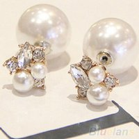 Wholesale Women s Elegant Double Sides Faux Pearl Rhinestones Water Earrings XID