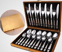 Wholesale Stainless Steel Flatware Box Set - 24Pcs set new arrival Gold Plate Dinnerware Set Cutlery Set Flatware Tableware Set With Gift Box