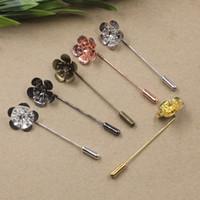 Wholesale Diy Metal Badges - 07667 50MM 18*6mm DIY metal silver Pink Flower Suit Lapel pin men badge, women vintage floral lapel pin brooch backs base, scraf pin up girl