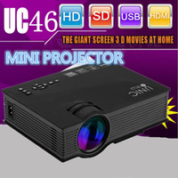 Wholesale Hd Wifi Projectors - Wholesale-Unic UC46 Wireless WIFI Mini Portable Projector 1200 Lumen 800 x 480 Full HD LED Video Home Cinema Support Miracast DLNA Airplay