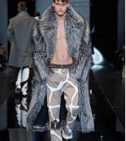 ropa de moda de visón al por mayor-más el tamaño S-5XL Moda abrigo de invierno de piel de los hombres ropa falsa larga diseño de trinchera abrigo de pieles de piel de zorro de plata visón
