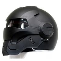 Wholesale Men Helmet - 2016 Top hot Black MASEI IRONMAN Iron Man helmet motorcycle helmet half helmet open face casque motocross 610 SIZE:M L XL XXL