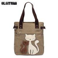 Wholesale Toto Bags - OLGITUM 2017 New Fashion Hot Sale Fashion Women Canvas Handbag Cartoon Cat Print Handbags Shoulder Toto Bags Casua Feminina B522