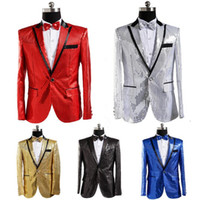 Wholesale Wholesale Ballroom Dress - paillette male master Sequins Dresses Stage Costumes Men terno Suit MC Host Clothing Singer Suits Blazer show jacket outerwear B531