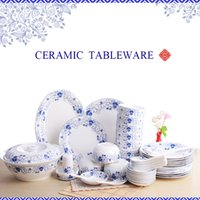 Wholesale White Porcelain Bowls - 46 Pieces Ceramics Dinnerware Set Chinese Blue and White Bowls and Spoon Bong China Porcelain in-glaze Decoration Gift