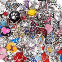 bling jewelry beads - DHL Free mix color desingers mm metal alloy Noosa chunks bling crystal snap buttons DIY jewelry