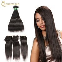 Wholesale Bundle Hair Silk Straight - Unprocessed Brazilian Virgin Human 4x4 Hair Clousre With 3 Bundles Silk Sliky Straight 1B Color For Black Women New Arrival Queenlike 7A