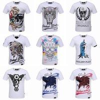 Wholesale Designer Fashion Tshirts - pp8122-8135 M-3XL 2017 new style Tide brand men's Tshirts Hot drilling and printing Designer Men T-shirts Stretch cotton top quality Skull