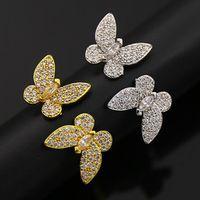 anéis de cobre para mulheres venda por atacado-CZ Pedra Borboleta Anéis De Cobre Completa Para As Mulheres O Estilo Do Oriente Médio Moda Jóias de Ouro Amarelo Platinadas Acessórios de Alta Qualidade